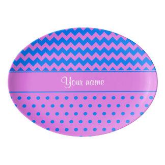 Travessa De Porcelana Azure personalizado da violeta das bolinhas das