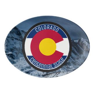 Travessa De Porcelana Bandeira da circular de Colorado