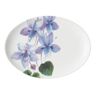Travessa De Porcelana Belezas da flor - violetas