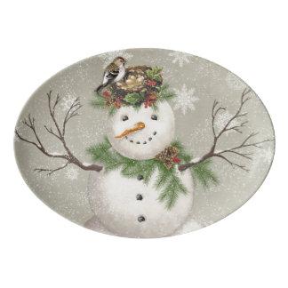 Travessa De Porcelana boneco de neve moderno do wintergarden do vintage