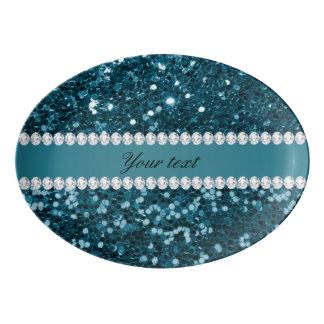 Travessa De Porcelana Brilho azul e diamantes do falso da cerceta escura