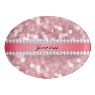 Travessa De Porcelana Brilho cor-de-rosa Bokeh e diamantes