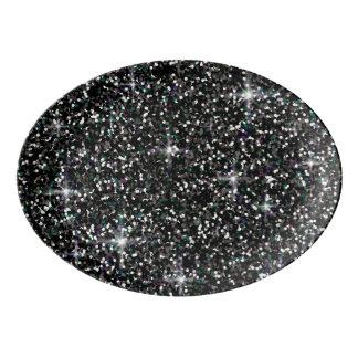 Travessa De Porcelana Brilho iridescente preto