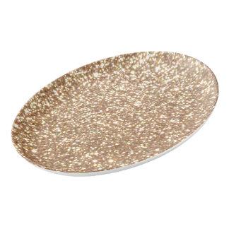 Travessa De Porcelana Brilho metálico do ouro cor-de-rosa do cobre