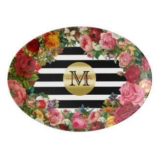 Travessa De Porcelana Brilho na moda do ouro das flores dos rosas das