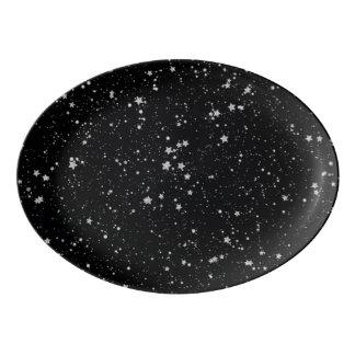 Travessa De Porcelana Brilho Stars2 - Preto de prata