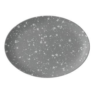Travessa De Porcelana Brilho Stars4 - Prata