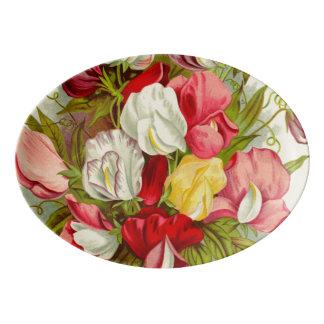 Travessa De Porcelana Buquê de flores da ervilha doce