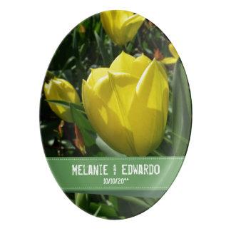 Travessa De Porcelana Casamento amarelo da flor da tulipa