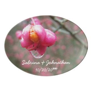 Travessa De Porcelana Casamento cor-de-rosa da gota da flor e da chuva