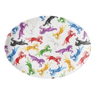 Travessa De Porcelana Cavalos de salto coloridos do teste padrão