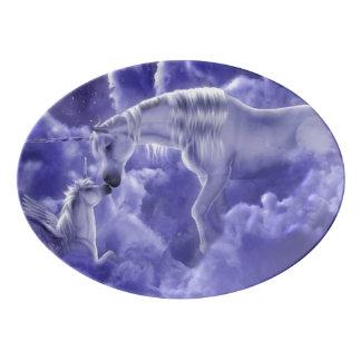 Travessa De Porcelana Céu nocturno mágico & Mystical dos unicórnios da