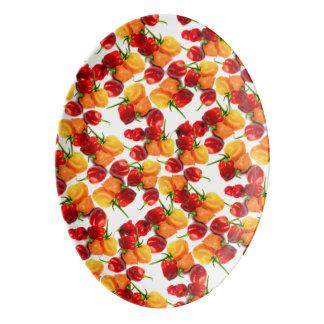 Travessa De Porcelana Comida quente alaranjada das pimentas vermelhas