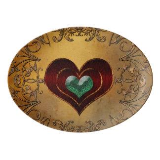 Travessa De Porcelana Corações bonitos