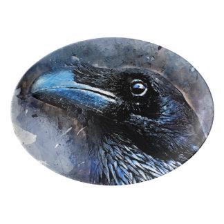 Travessa De Porcelana #crow da arte do pássaro do corvo