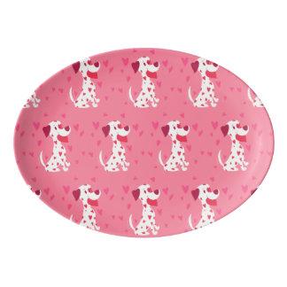 Travessa De Porcelana Dalmatian cor-de-rosa bonito dos namorados dos