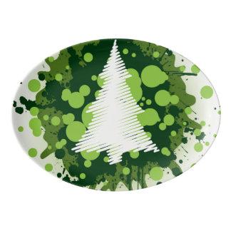 Travessa De Porcelana Design Splattered da árvore de Natal da pintura