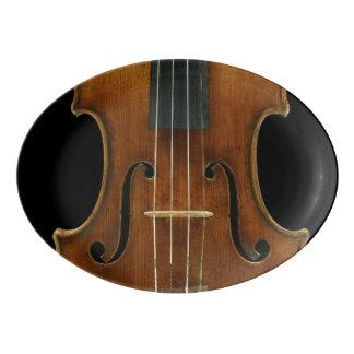 Travessa De Porcelana Detalhe do violino de Stradivari no preto