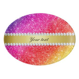 Travessa De Porcelana Diamantes do brilho do arco-íris do falso