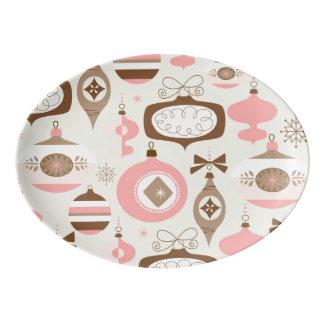 Travessa De Porcelana Enfeites de natal cor-de-rosa & cinzentos do