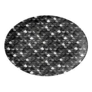 Travessa De Porcelana Escalas preto e branco de Falln