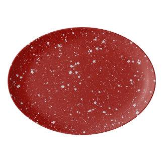 Travessa De Porcelana Estrelas do brilho - vermelho de prata