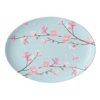 Travessa De Porcelana Flor de cerejeira - azul-céu