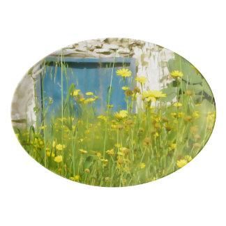 Travessa De Porcelana Flores amarelas da aguarela