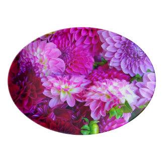 Travessa De Porcelana Flores cor-de-rosa e roxas da dália