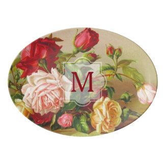 Travessa De Porcelana Flores do buquê dos rosas do Victorian do vintage