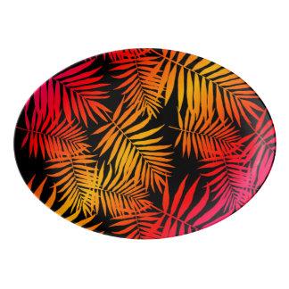 Travessa De Porcelana Folha tropical da palmeira da decoração