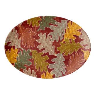 Travessa De Porcelana Folhas do carvalho do outono