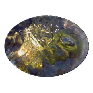 Travessa De Porcelana Fotografia abstrata aquosa azul amarela elegante