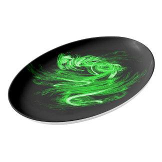 Travessa De Porcelana Fumo verde