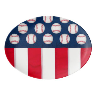 Travessa De Porcelana Grandes basebol & bandeira americana
