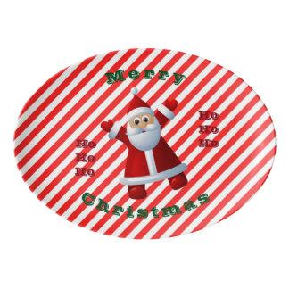 Travessa De Porcelana HO! HO! HO! Bastão de doces do Feliz Natal de