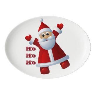 Travessa De Porcelana HO! HO! HO! Feliz Natal bonito de Papai Noel
