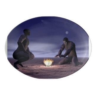 Travessa De Porcelana Homo erectus e fogo - 3D rendem