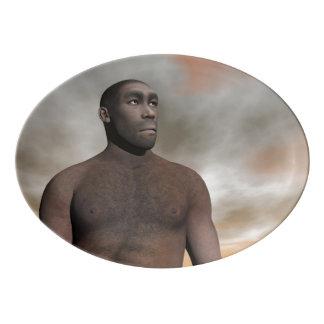Travessa De Porcelana Homo erectus masculino - 3D rendem