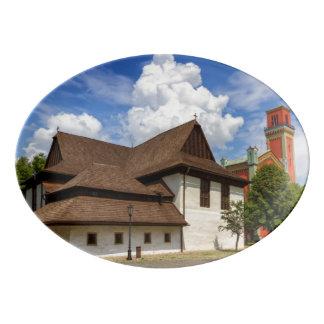 Travessa De Porcelana Igreja articulaa de madeira em Kezmarok, Slovakia
