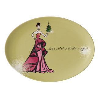 Travessa De Porcelana Ilustração da forma do Natal com árvore