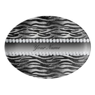 Travessa De Porcelana Listras pretas da zebra da folha do falso na prata