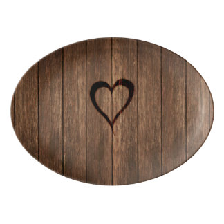 Travessa De Porcelana Madeira rústica impressão queimado do coração