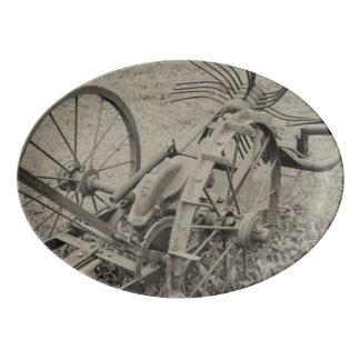Travessa De Porcelana Máquina agrícola do vintage