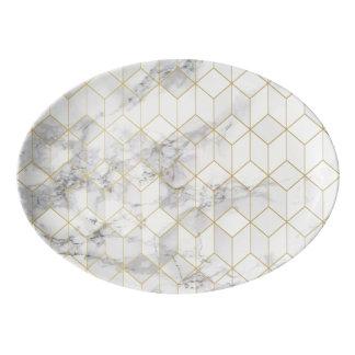 Travessa De Porcelana Mármore branco com teste padrão do cubo do ouro