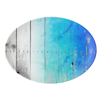 Travessa De Porcelana O azul da madeira lançada costa pintou náutico