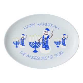 Travessa De Porcelana O boneco de neve Chrismukkah de Hanukkah