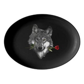 Travessa De Porcelana O lobo aumentou