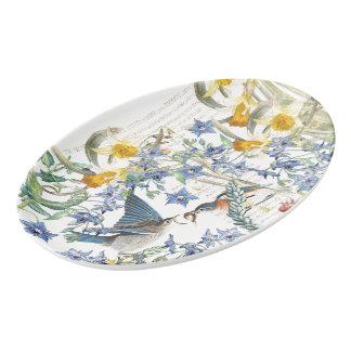 Travessa De Porcelana O narciso dos pássaros do Bluebird floresce a