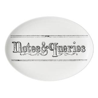 Travessa De Porcelana O vintage nota e pergunta Typograph